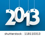 white tags with 2013 on blue... | Shutterstock . vector #118110313