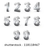 3d metal numbers | Shutterstock . vector #118118467