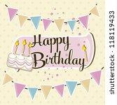 happy birthday  bunting  cake... | Shutterstock .eps vector #118119433