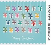 gift boxes hang on twine advent ... | Shutterstock .eps vector #118120723