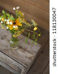 farm flowers in glass vase jar  ...   Shutterstock . vector #118130047