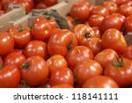 Ripe tomatoes for sale in supermarket - stock photo