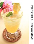 freshness pineapple juice with copy space - stock photo