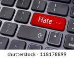 hate or hating concepts, with message on computer keyboard. - stock photo