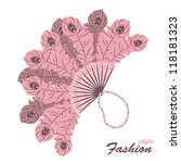 Pink Feathers Fan On White...
