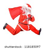 santa claus is running with a... | Shutterstock . vector #118185097