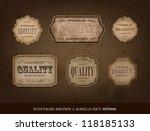 vector vintage old paper labels ... | Shutterstock .eps vector #118185133