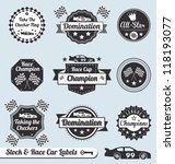 Vector Set  Car Racing Labels...