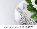 Christmas menu concept over silver background - stock photo