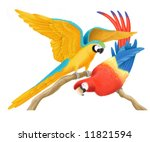 a scarlet and a blue and gold...   Shutterstock . vector #11821594