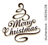 Merry christmas typography with christmas tree shaped swirls. - stock vector