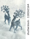 Christmas card.two deers on a snowy background - stock photo