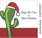 Happy New Year With Cactus