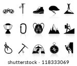 climbing mountain icons set - stock vector