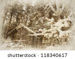 Vintage Winter Landscape With...