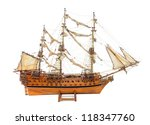 Historic sailing ship as wooden model - stock photo