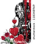Vector floral Valentine composition with hearts and violin in red, black and white colors - stock vector