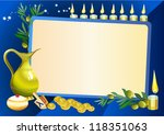 hanuka still life background with candles, donuts and border for text - stock vector