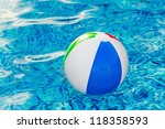 Multi colored Beach ball in swimming pool - stock photo
