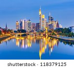Frankfurt am Mine at night, Germany - stock photo