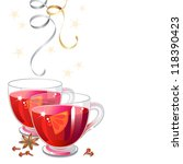 mulled wine with spices and... | Shutterstock .eps vector #118390423