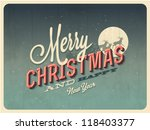 Vintage vector Christmas Greeting Card with Merry Christmas and Happy New Year lettering, vector illustration. - Grunge effects, easily editable for a brand new. - stock vector