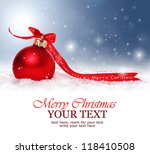 Christmas background with red bauble,snow and snowflakes - stock photo