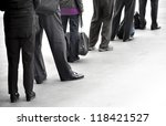 people in dark clothes with... | Shutterstock . vector #118421527