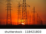high voltage post at sunset. | Shutterstock . vector #118421803