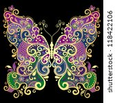 Decorative fantasy gold and colorful vintage butterfly on black(vector) - stock vector