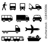 Transportation icon set in black - stock vector