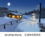 cozy log cottage in a winter scene with snowman, christmas lights and a big moon on the sky - stock photo