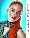 close-up portrait fashion beauty model orange hair freckles skin woman face on white background - stock photo