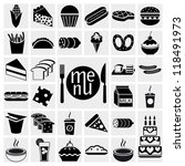 food and drink icons set | Shutterstock .eps vector #118491973