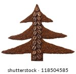 Ground coffee and coffee beans in the shape of Christmas tree isolated on white - stock photo