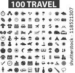 100 travel icons set  vector   Shutterstock .eps vector #118521307