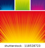 Vector illustration of rays abstract background set - stock vector