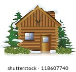 Cottage in the middle of snow forest, create by vector - stock vector