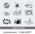 gray comic icons over gray... | Shutterstock .eps vector #118614097