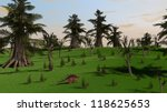 kentrosaurus in jungle - stock photo