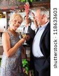 senior couple in restaurant... | Shutterstock . vector #118633603