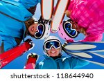 Skiing, winter, snow, sun and fun - female skiers enjoying winter vacations - stock photo