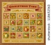 vintage christmas advent... | Shutterstock .eps vector #118652563