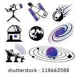 Astronautics and Space Icons; science and technology elements - stock vector