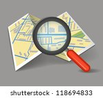 folded map with magnifying glass | Shutterstock .eps vector #118694833