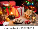 Christmas table set with gingerbread cakes - stock photo