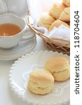 Afternoon tea, scone and Darjeeling tea - stock photo