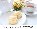 english tea and scone for afternoon tea image - stock photo