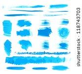 vector handmade blue strokes... | Shutterstock .eps vector #118743703