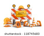 Under construction concept. 3D barrier isolated on white - stock photo